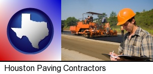 a paving contractor with paving machinery in Houston, TX