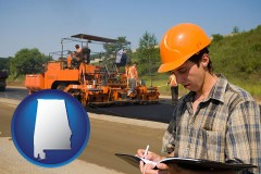 alabama map icon and a paving contractor with paving machinery