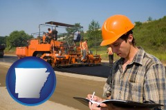 arkansas map icon and a paving contractor with paving machinery