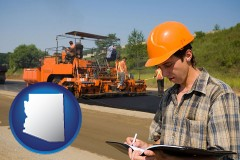 arizona map icon and a paving contractor with paving machinery