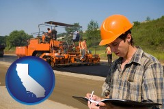 california map icon and a paving contractor with paving machinery
