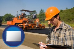 colorado map icon and a paving contractor with paving machinery