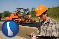 delaware map icon and a paving contractor with paving machinery