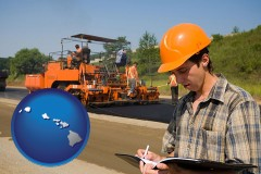 hawaii map icon and a paving contractor with paving machinery