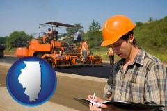 illinois map icon and a paving contractor with paving machinery