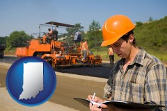 indiana map icon and a paving contractor with paving machinery