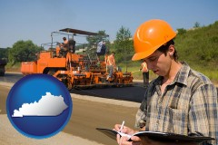 kentucky map icon and a paving contractor with paving machinery