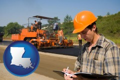 louisiana map icon and a paving contractor with paving machinery