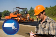 massachusetts map icon and a paving contractor with paving machinery