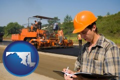 maryland map icon and a paving contractor with paving machinery