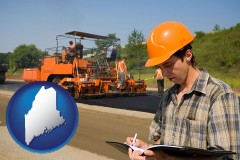 maine map icon and a paving contractor with paving machinery