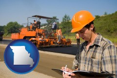 missouri map icon and a paving contractor with paving machinery