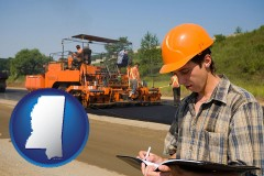 mississippi map icon and a paving contractor with paving machinery