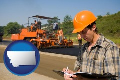 montana map icon and a paving contractor with paving machinery