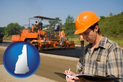 new-hampshire map icon and a paving contractor with paving machinery