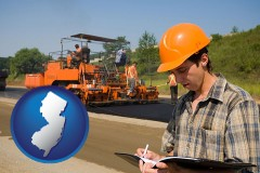 new-jersey map icon and a paving contractor with paving machinery