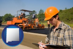 new-mexico map icon and a paving contractor with paving machinery