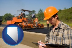 nevada map icon and a paving contractor with paving machinery