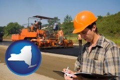 new-york map icon and a paving contractor with paving machinery