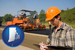 rhode-island map icon and a paving contractor with paving machinery