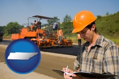 tennessee map icon and a paving contractor with paving machinery