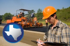 texas map icon and a paving contractor with paving machinery