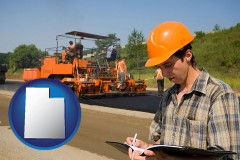 utah map icon and a paving contractor with paving machinery