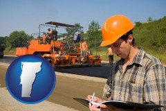 vermont map icon and a paving contractor with paving machinery