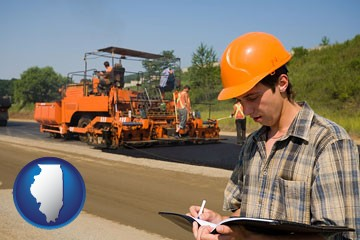 a paving contractor with paving machinery - with Illinois icon