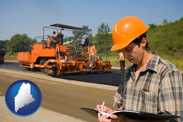 a paving contractor with paving machinery - with Maine icon