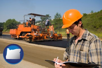 a paving contractor with paving machinery - with Oregon icon