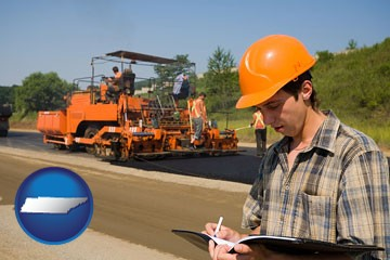 a paving contractor with paving machinery - with Tennessee icon