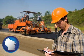 a paving contractor with paving machinery - with Wisconsin icon