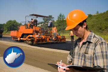 a paving contractor with paving machinery - with West Virginia icon
