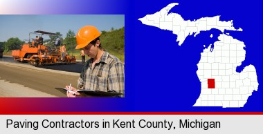 a paving contractor with paving machinery; Kent County highlighted in red on a map
