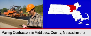 a paving contractor with paving machinery; Middlesex County highlighted in red on a map